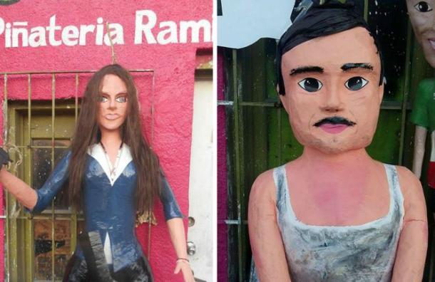 """Crean piñatas de Kate del Castillo y """"El Chapo"""""""