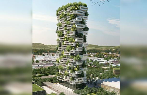 Este es el primer edificio del mundo en estar cubierto con árboles