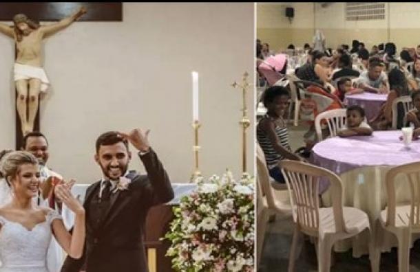 Pareja Brasileña que festejó su matrimonio dando de cenar a 160 personas necesitadas