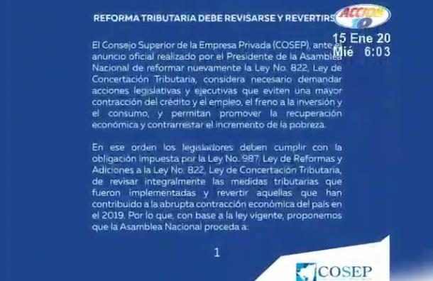 COSEP sugirió a los diputados que revisen integralmente la reforma tributaria