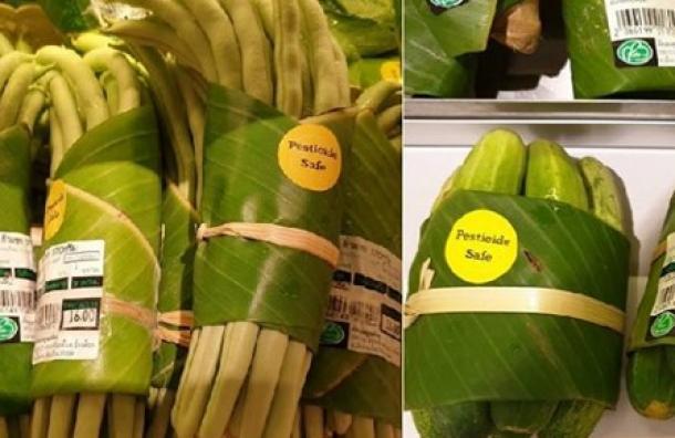 Supermercados en Asia están utilizando hojas de plátano en lugar de envolturas de plástico
