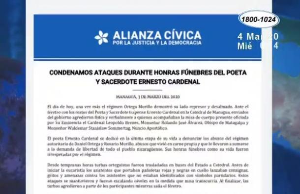 Alianza Cívica rechazó a la violencia registrada en la Catedral de Managua
