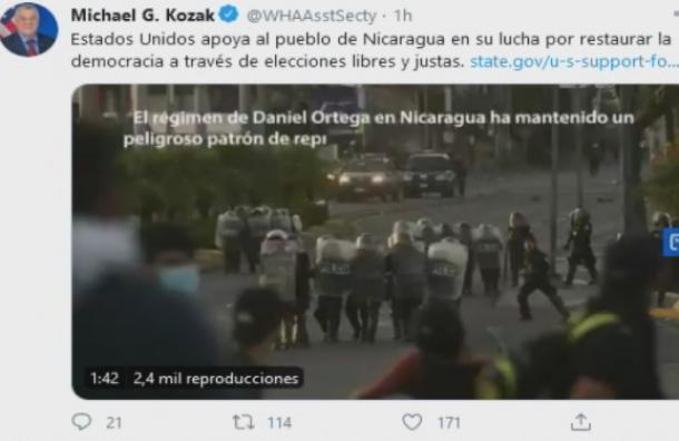 Kozak dice que Estados Unidos apoyará al pueblo de Nicaragua en su lucha por elecciones libres